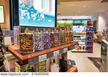 KUALA LUMPUR, MALAYSIA - CIRCA JANUARY, 2020: fragrances on display at Watson  store in Suria KLCC shopping mall in Kuala Lumpur.