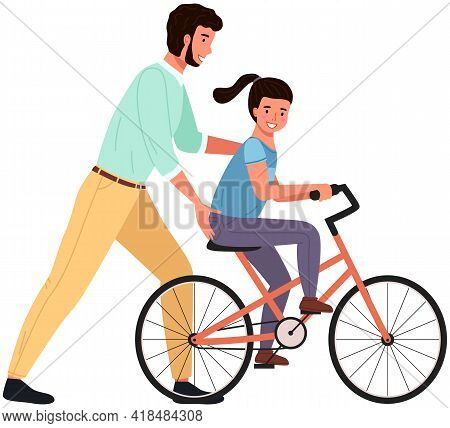 Caring Dad Teaching Daughter To Ride Bike For First Time. Father Helping Girl Kid Riding Bicycle. Pa