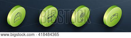 Set Isometric Line Baseball Cap, Golf Label, Location Golf Sport Club And Sun Visor Icon. Vector
