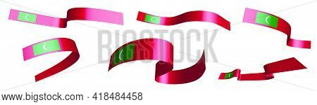 Set Of Holiday Ribbons. Maldives Flag Waving In Wind. Separation Into Lower And Upper Layers. Design