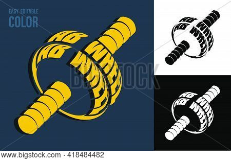 Volumetric Letters With Ab Wheel Name On Backdrop Of Sports Ab Wheel For Abdominal Press Training. E