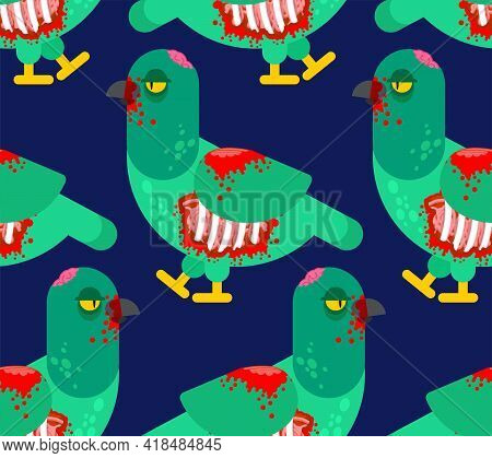 Zombie Pigeon Pattern Seamless. Dove Revived Dead Monster Background