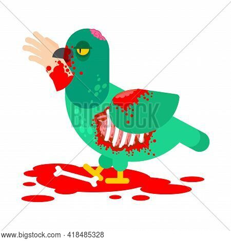 Zombie Pigeon Isolated. Dove Revived Dead Monster