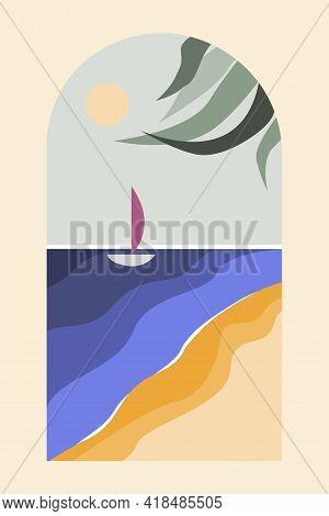 Contemporary Minimalist Seascape In Modern Boho Style. Boho Design For Cards, Nursery Walldecor, T-s