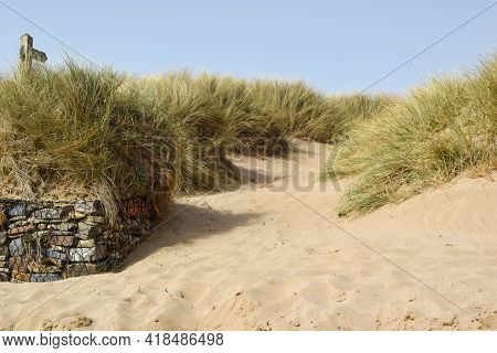 Sand dunes on the shore of a deserted beach on a sunny day