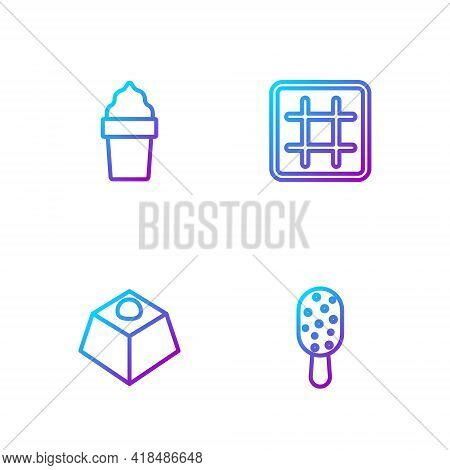 Set Line Ice Cream, Brownie Chocolate Cake, In Waffle Cone And Waffle. Gradient Color Icons. Vector