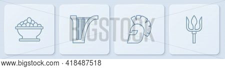 Set Line Olives In Bowl, Greek Helmet, Harp And Neptune Trident. White Square Button. Vector