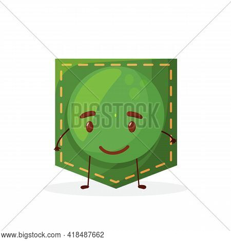 Peas Shaped Patch Pocket. Character Pocket Peas. Cartoon Style. Isolated On White Background. Design