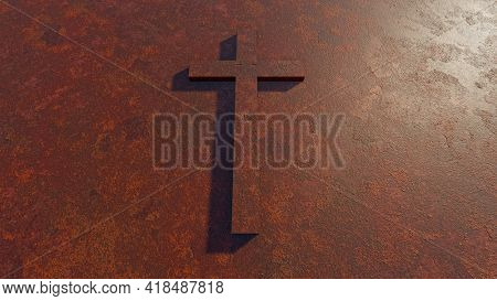 Concept or conceptual cross on a  rusted corroded metal or steel sheet backround. 3d illustration metaphor for God, Christ, Christianity, religious, faith, holy, spiritual, Jesus, belief, resurection