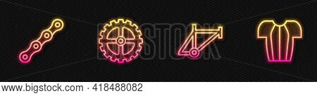 Set Line Bicycle Frame, Chain, Sprocket Crank And Cycling T-shirt. Glowing Neon Icon. Vector