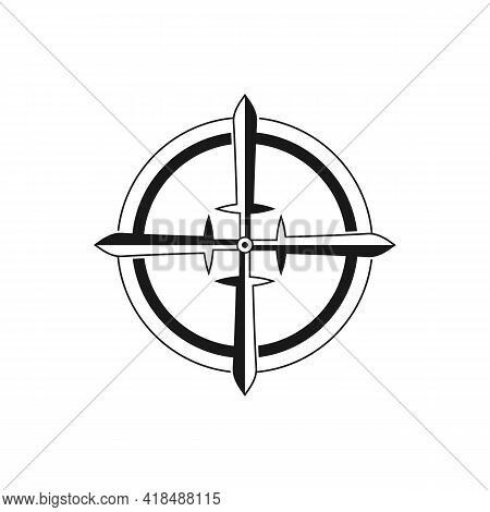 Illustration Vector Graphic Of A Compass Logo With A Sword As A Needle