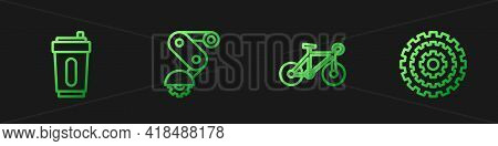 Set Line Bicycle, Sport Bottle With Water, Derailleur Bicycle Rear And Cassette. Gradient Color Icon