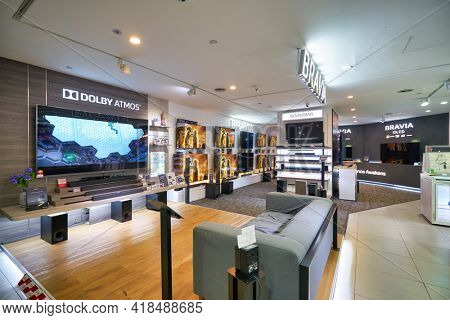 KUALA LUMPUR, MALAYSIA - CIRCA JANUARY, 2020: interior shot of Sony store in Suria KLCC shopping mall in Kuala Lumpur.