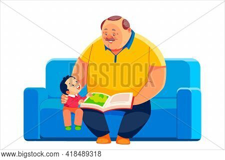 Grandfather And Grandson Sit On The Sofa And Read A Book Together. Happy Fathers Day Postcard, Relat