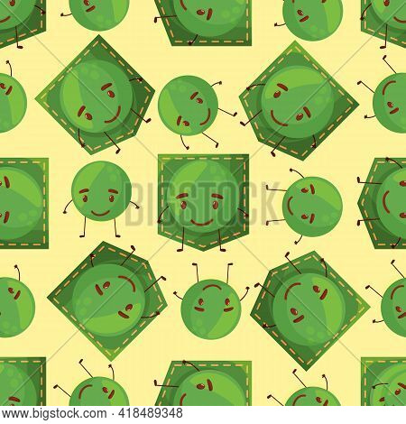 Seamless Pattern Peas Shaped Patch Pocket. Character Pocket Peas. Design Element.