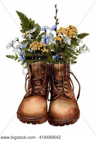 Watercolor Brown Vintage Boots With Wildflowers, Hiking Boots, Travel, Adventure. High Quality Photo