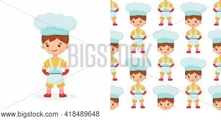 Seamless Pattern Of Chef Vector Illustration On Isolated Background. Pattern Baker Boy.