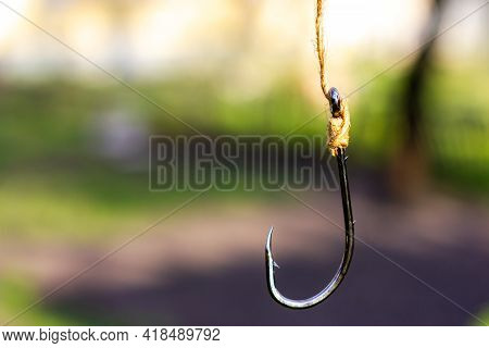 Large Fishing Hook. Empty Hook For Fishing.