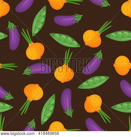 Seamless Pattern With Hand Drawn Colorful Vegetables. Vegetables Flat Icons Set Egglant, Onion, Peas