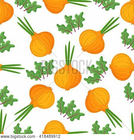 Seamless Pattern Onion With Green Onion, Cutaway Onion Top View Isolated On Background, Flat Lay For