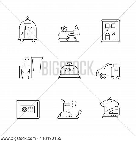Hotel Services Linear Icons Set. Porter Service For Helping Customers. Car Parking For Visitors. Cus