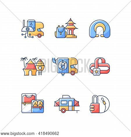 Roadtrip Rgb Color Icons Set. Travel Equipment. Spiritual Nomad. Resort For Tourists. Recreational G