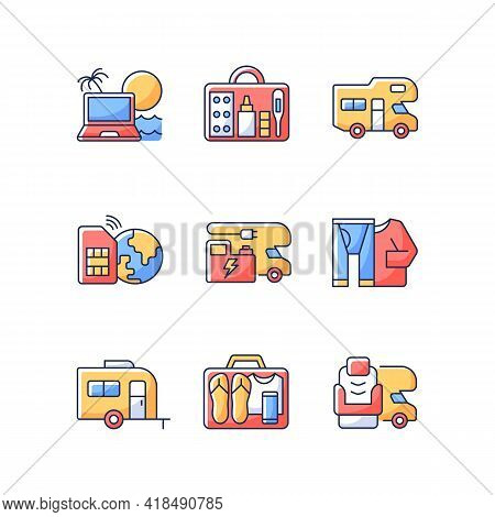 Travel Rgb Color Icons Set. Recreational Vehicle. Campground For Rv. Roadtrip Gear. Nomadic Lifestyl