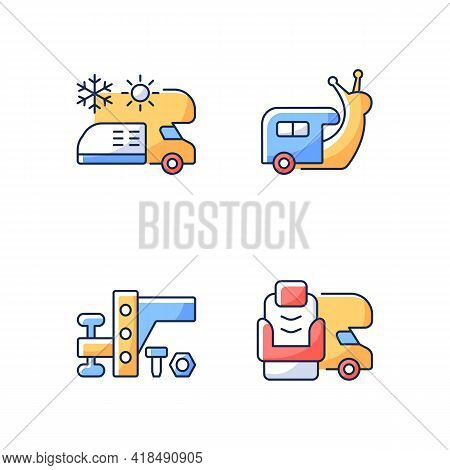 Recreational Vehicle Rgb Color Icons Set. Slow Travel. Air Conditioning And Heating. Towing Gear. Fu