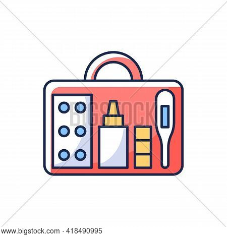 Small First Aid Kit Rgb Color Icon. Health Care Emergency Bag. Roadtrip Gear. Nomadic Lifestyle Equi