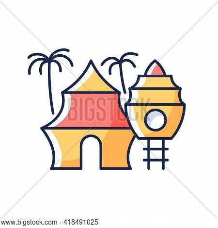 Nomadic Resort Rgb Color Icon. Hotel In Tropical Area. Hostel On Beach. Recreation And Rest. Nomadic