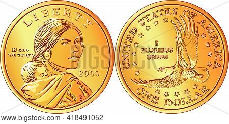 American Money Sacagawea Dollar, Golden Dollar Coin, Sacagawea On Obverse, Flying Eagle On Reverse