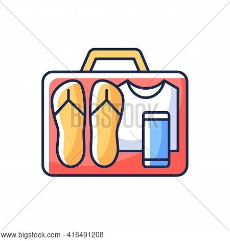 Minimalist Mindset Rgb Color Icon. Pack Clothing In Luggage. Apparel In Suitcase. Roadtrip Gear. Nom