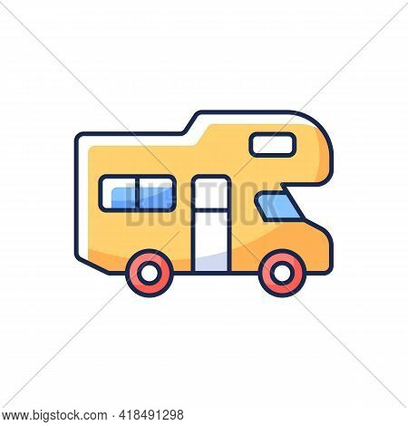 Recreational Vehicle Rgb Color Icon. Roadtrip Trailer. Van For Touring. Nomadic Lifestyle. Auto Tran