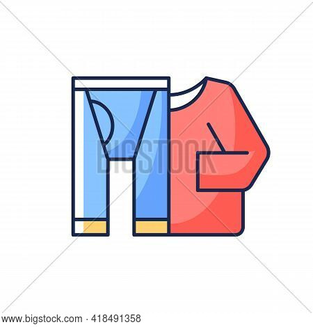 Thermal Underwear Rgb Color Icon. Sportswear And Thermo Clothing. Leggins And Shirt For Tourist. Roa