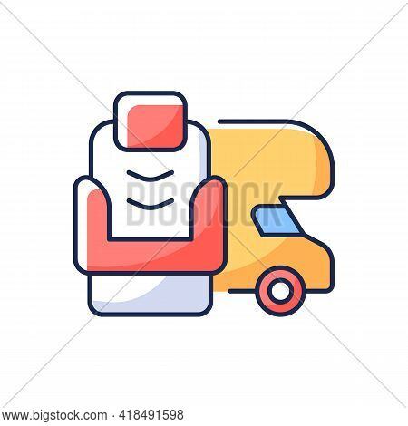 Rv Furniture Rgb Color Icon. Seating For Trailer. Recliner Chair For Van. Roadtrip Gear. Nomadic Lif