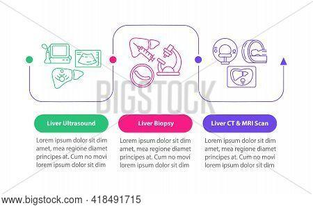 Liver Testing Vector Infographic Template. Organ Biopsy, Ct Scanning Presentation Design Elements. D