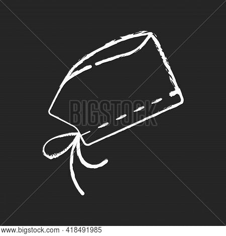 Surgical Cap Chalk White Icon On Black Background. Protective Wear From Virus Infection. Surgeon Sui