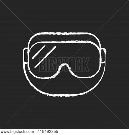Medical Goggles Chalk White Icon On Black Background. Medical Equipment For Eye Protection. Protecti