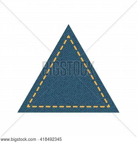 Blue Denim Design With Triangle With Stitcher. Vector Illustration