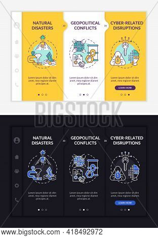 Power Secure Risks Onboarding Vector Template. Responsive Mobile Website With Icons. Web Page Walkth