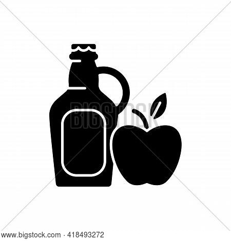 Cider To Go Black Glyph Icon. Fermented Apple Juice. Expressed Fruit Beverage. Alcoholic, Nonalcohol