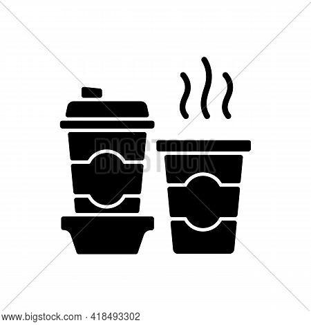 Coffee To Go Black Glyph Icon. Consuming Caffeine. Morning Beverage. Cappuccino, Americano, Espresso