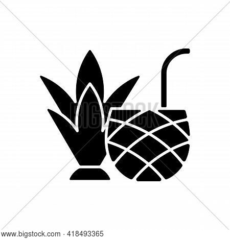 Pina Colada Black Glyph Icon. Mixed Alcoholic Drink, Cocktail. Tropical Taste. No Sugar-added Strain