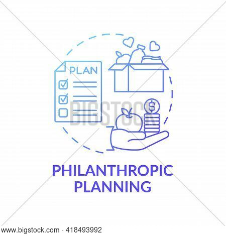 Philanthropic Planning Concept Icon. Wealth Advisory Idea Thin Line Illustration. Enhancing Fundrais
