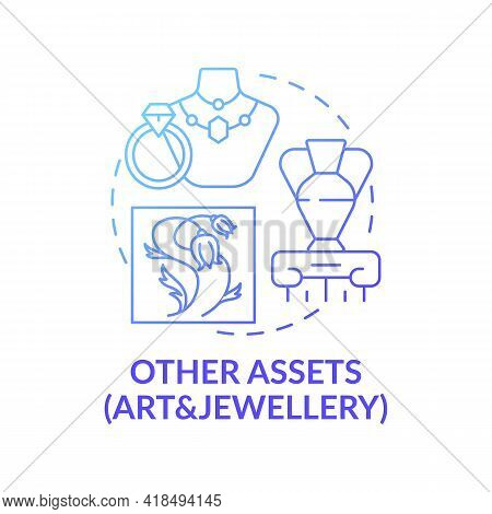Art And Jewellery Assets Concept Icon. Comprehensive Wealth Planning Idea Thin Line Illustration. An