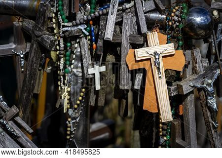 Close Up Shot Of Crosses In The Hill Of Crosses A Famous Site Of Pilgrimage In Northern Lithuania.
