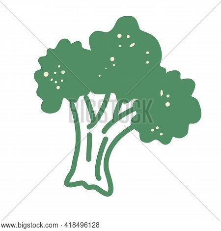 Broccoli Icon. Cartoon Fresh Vegetable Nature. For Food Business, Snack Branding Element Logo. Vecto