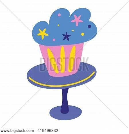 Birthday Sweet Baked Cake Icon. Muffin.  Birthday Party. Hand Draw Cake For Posters, Cards, Banners,