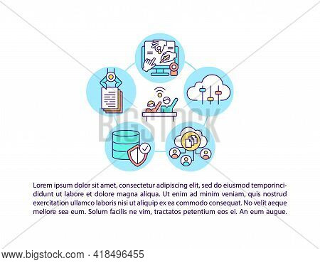 Ict For Participation In Civic Society Concept Line Icons With Text. Ppt Page Vector Template With C