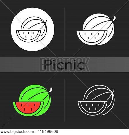 Watermelon Dark Theme Icon. Serving Fruit For Picnic. Low-calorie Treat. Body Detoxification. Fighti